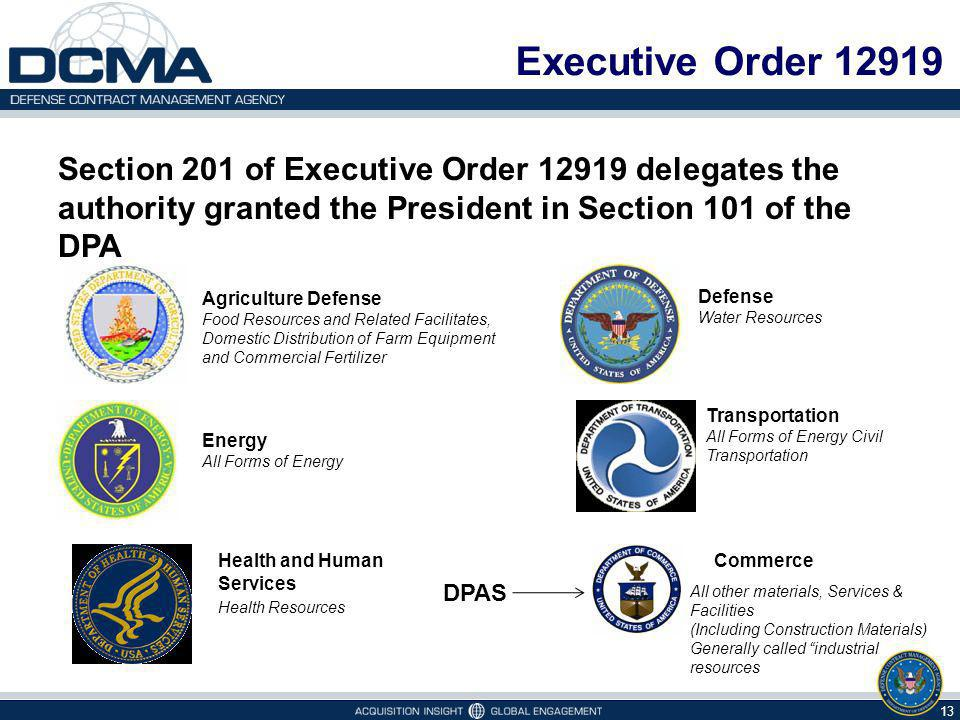 Executive Order 12919 Section 201 of Executive Order 12919 delegates the authority granted the President in Section 101 of the DPA.