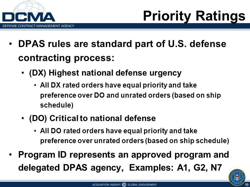 Priority Ratings DPAS rules are standard part of U.S. defense contracting process: (DX) Highest national defense urgency.