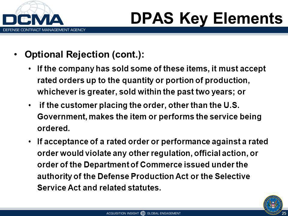 DPAS Key Elements Optional Rejection (cont.):