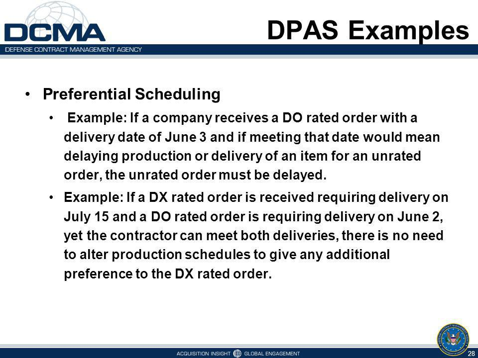 DPAS Examples Preferential Scheduling