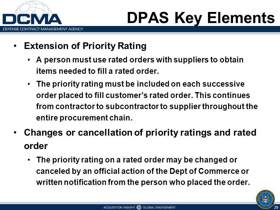 DPAS Key Elements Extension of Priority Rating