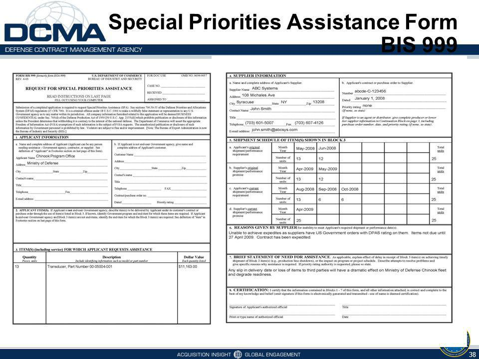 Special Priorities Assistance Form BIS 999