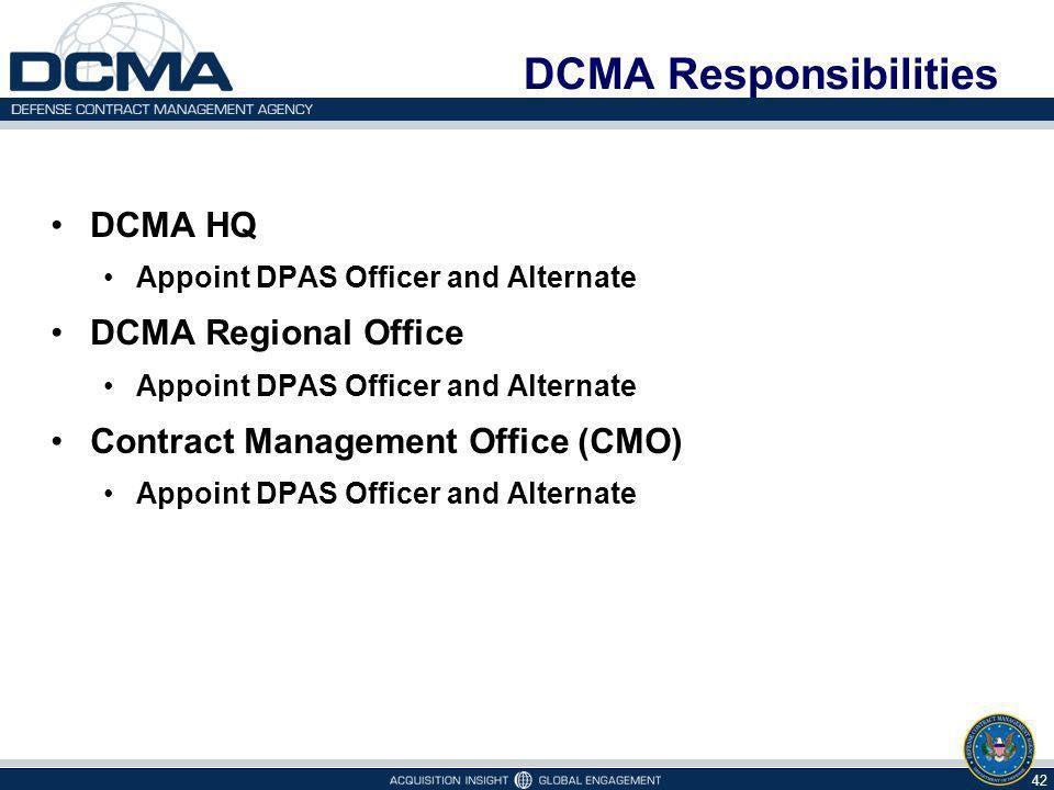 DCMA Responsibilities
