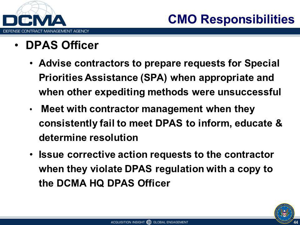 CMO Responsibilities DPAS Officer