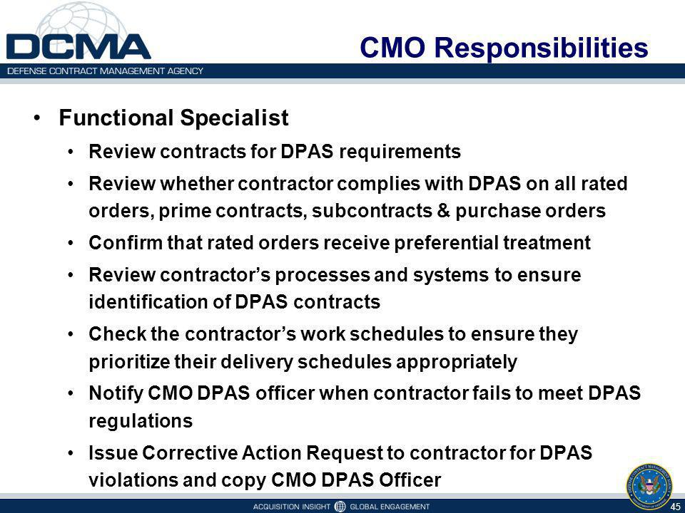 CMO Responsibilities Functional Specialist