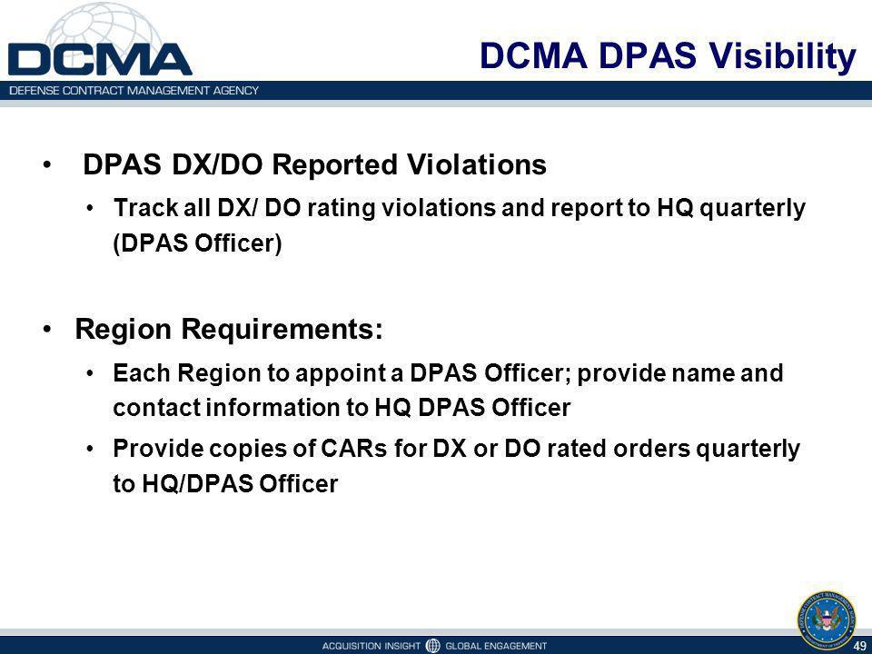 DCMA DPAS Visibility DPAS DX/DO Reported Violations