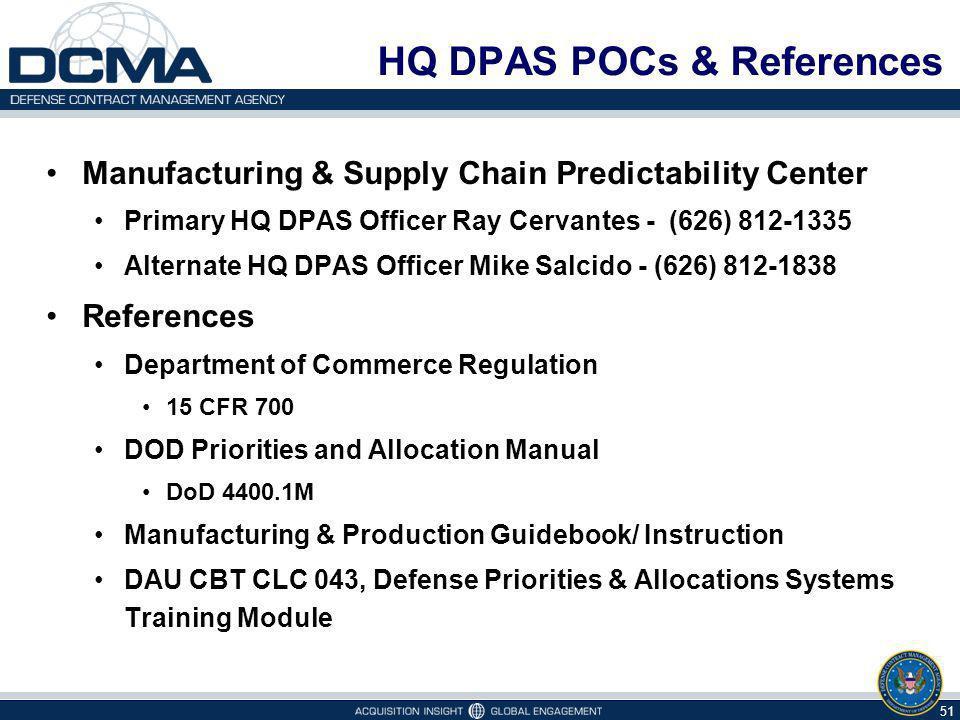 HQ DPAS POCs & References