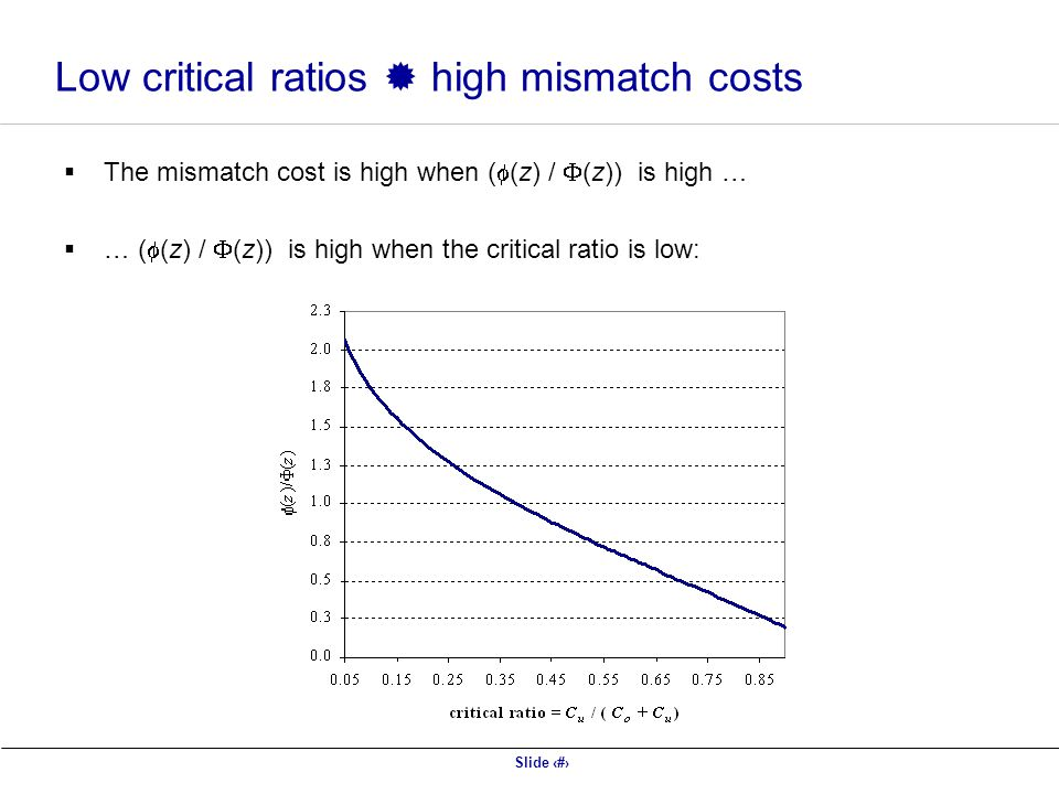 Low critical ratios  high mismatch costs