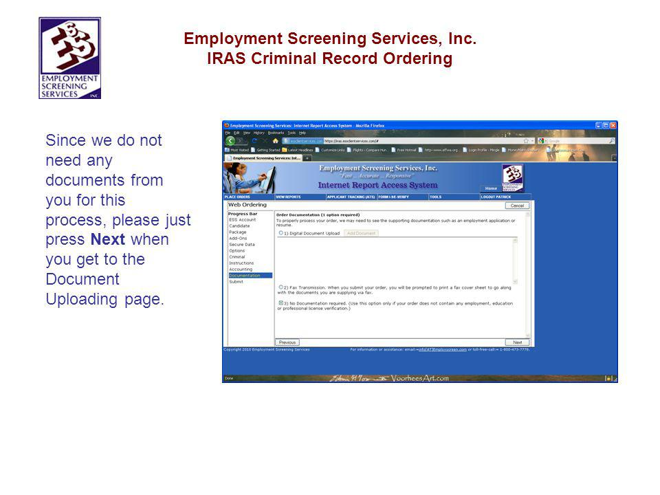 Employment Screening Services, Inc. IRAS Criminal Record Ordering