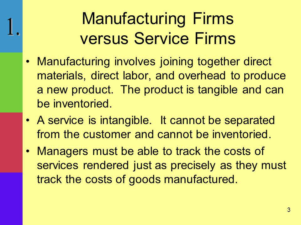 Manufacturing Firms versus Service Firms
