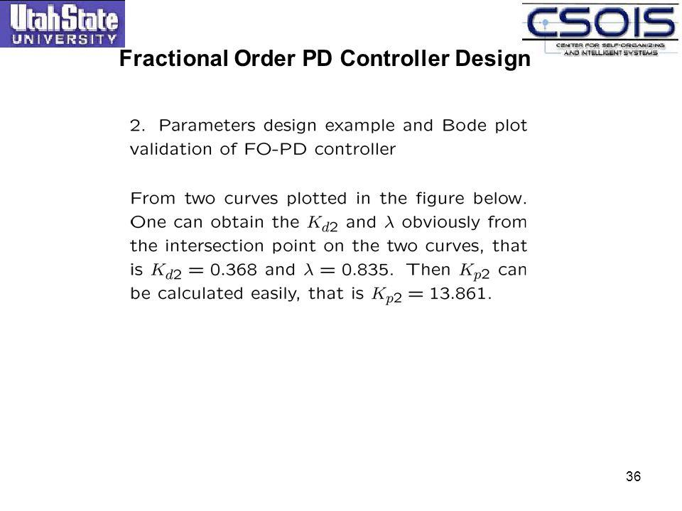 Fractional Order PD Controller Design