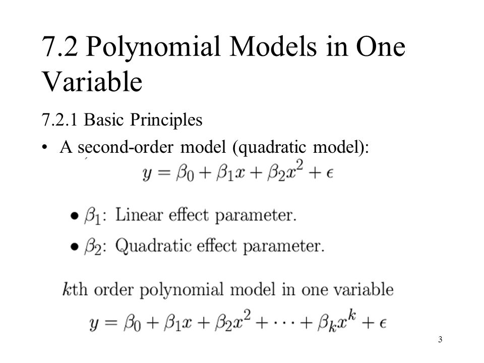 7.2 Polynomial Models in One Variable