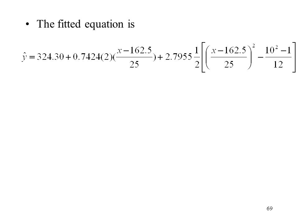 The fitted equation is