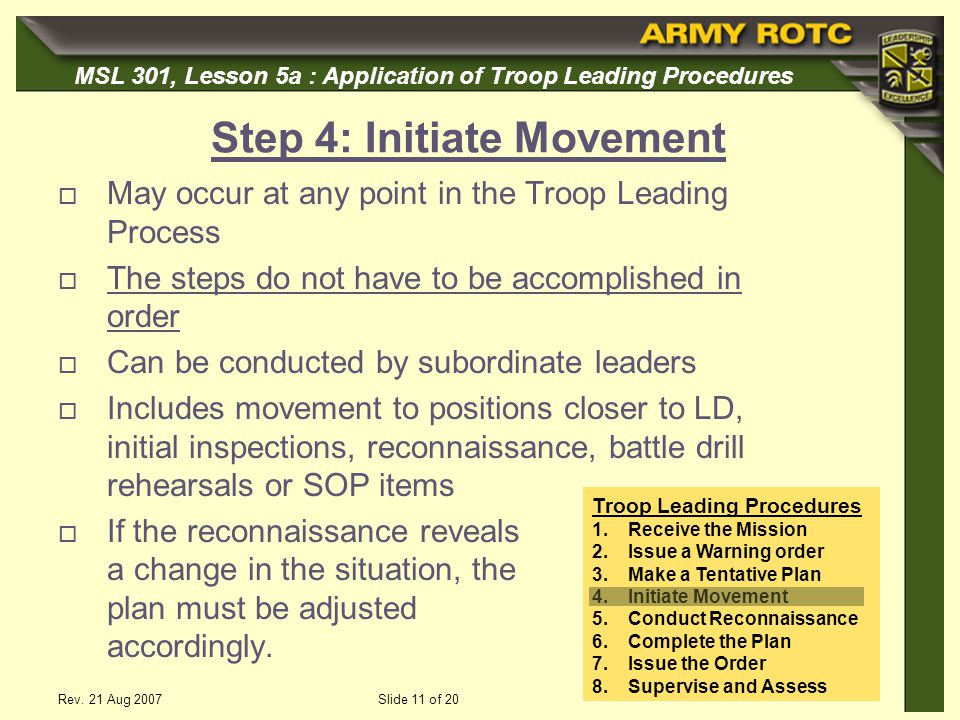 Step 4: Initiate Movement
