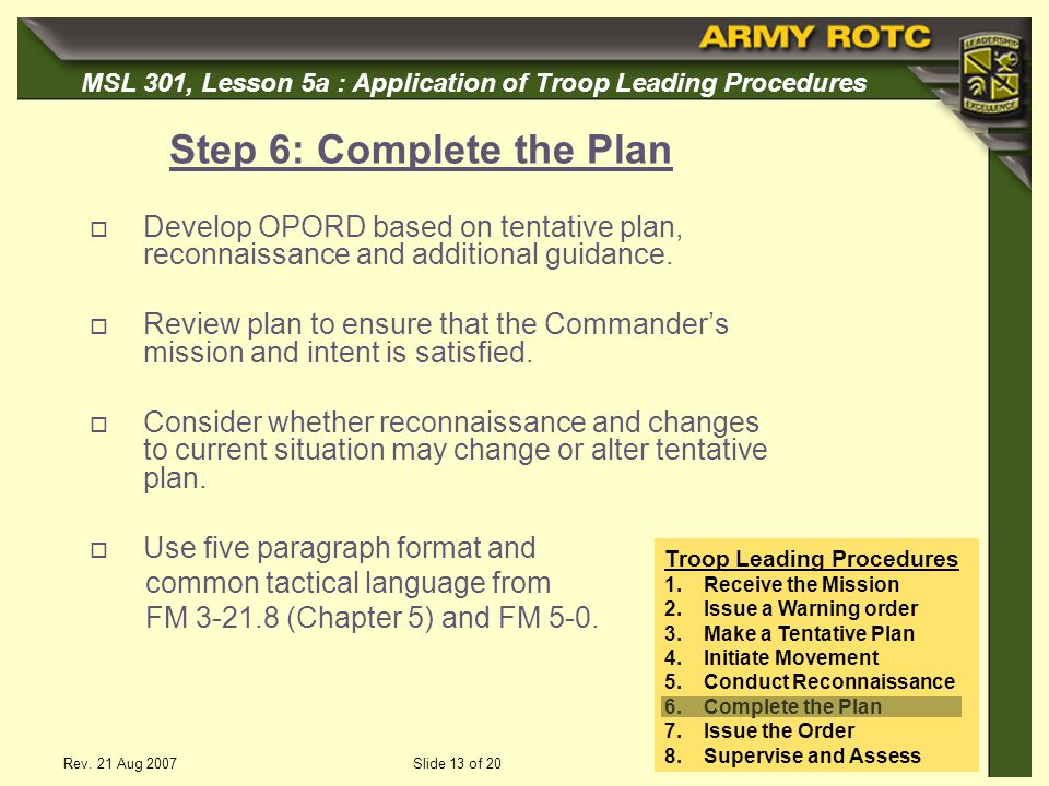 Step 6: Complete the Plan