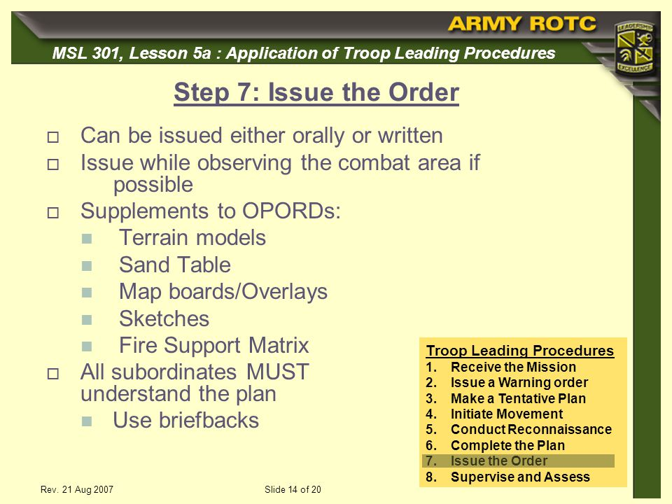 Step 7: Issue the Order Can be issued either orally or written