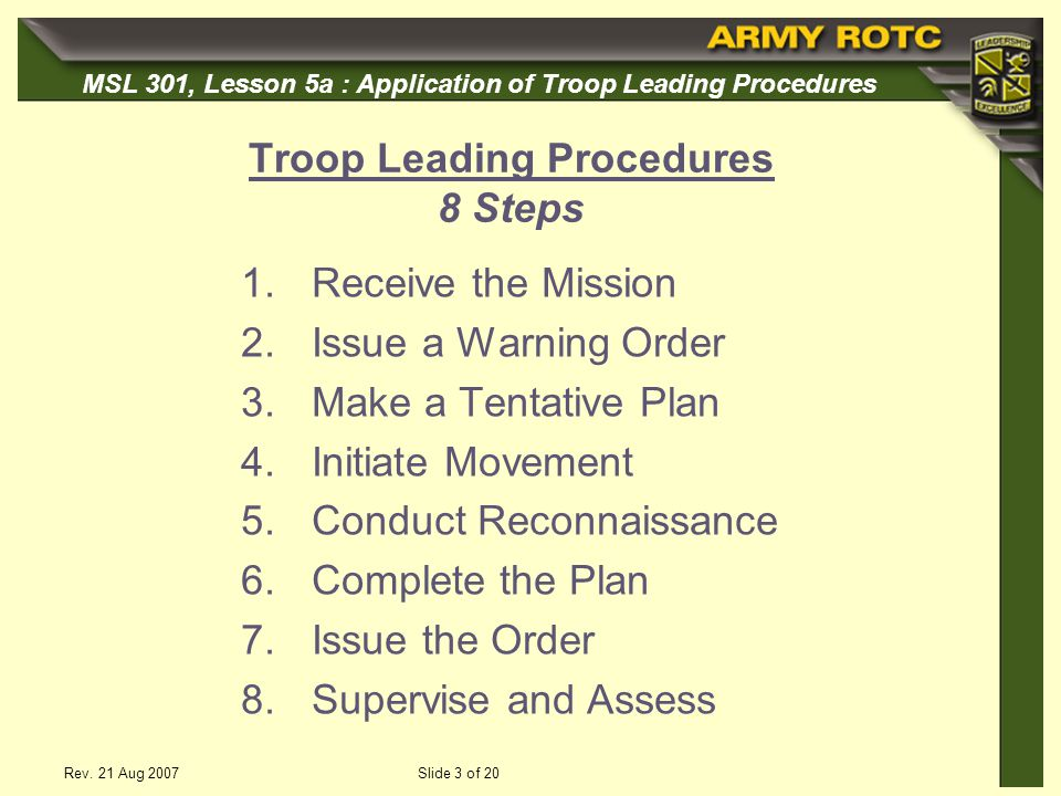 Troop Leading Procedures 8 Steps