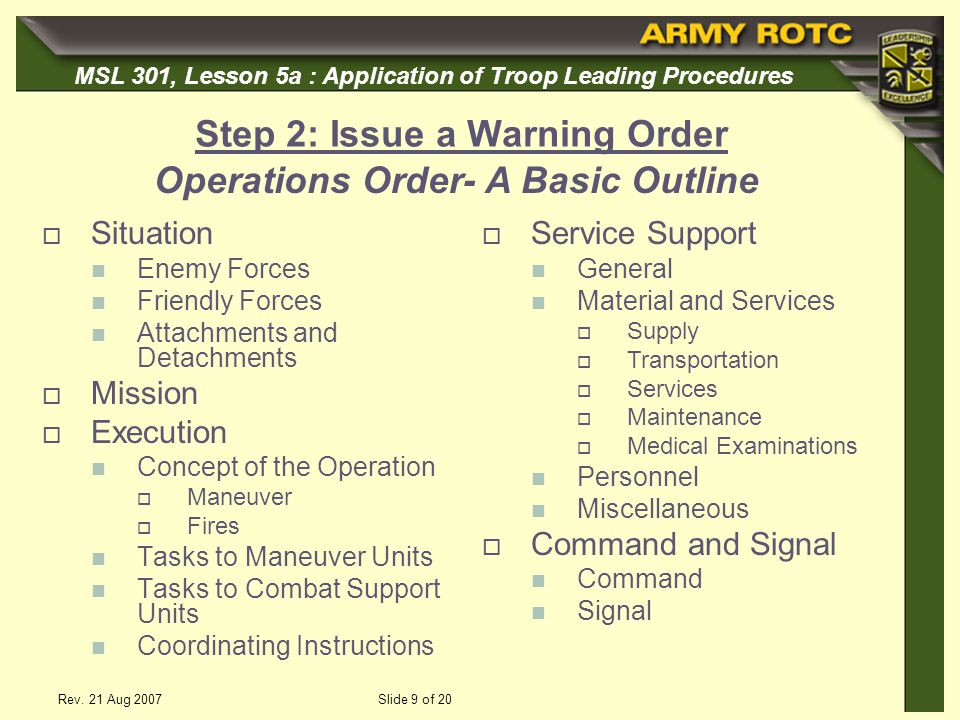 Step 2: Issue a Warning Order