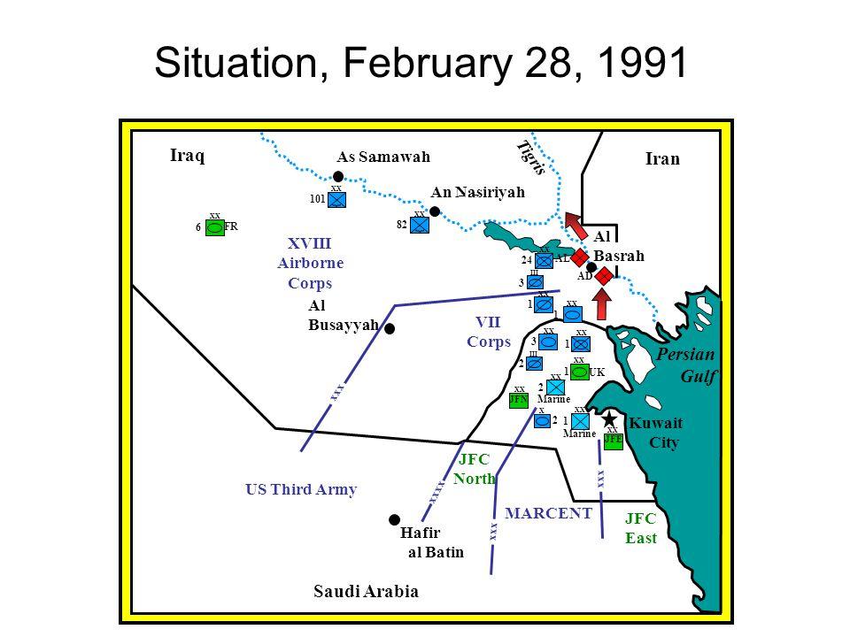 Situation, February 28, 1991 Iraq Iran Persian Gulf Saudi Arabia