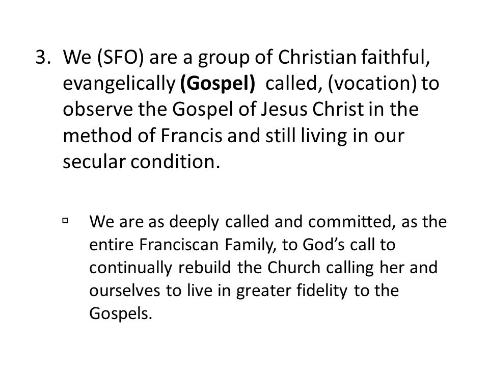 We (SFO) are a group of Christian faithful, evangelically (Gospel) called, (vocation) to observe the Gospel of Jesus Christ in the method of Francis and still living in our secular condition.