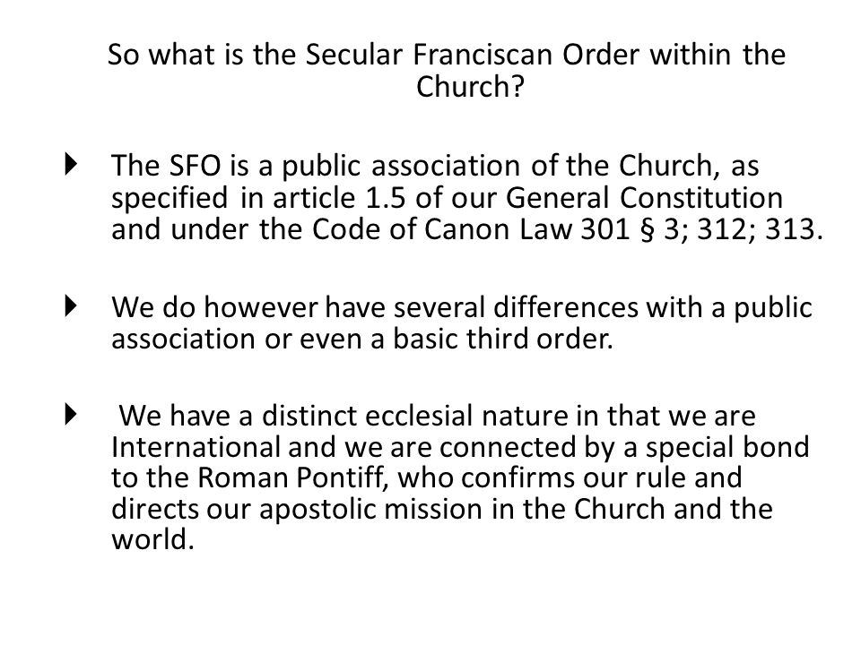 So what is the Secular Franciscan Order within the Church