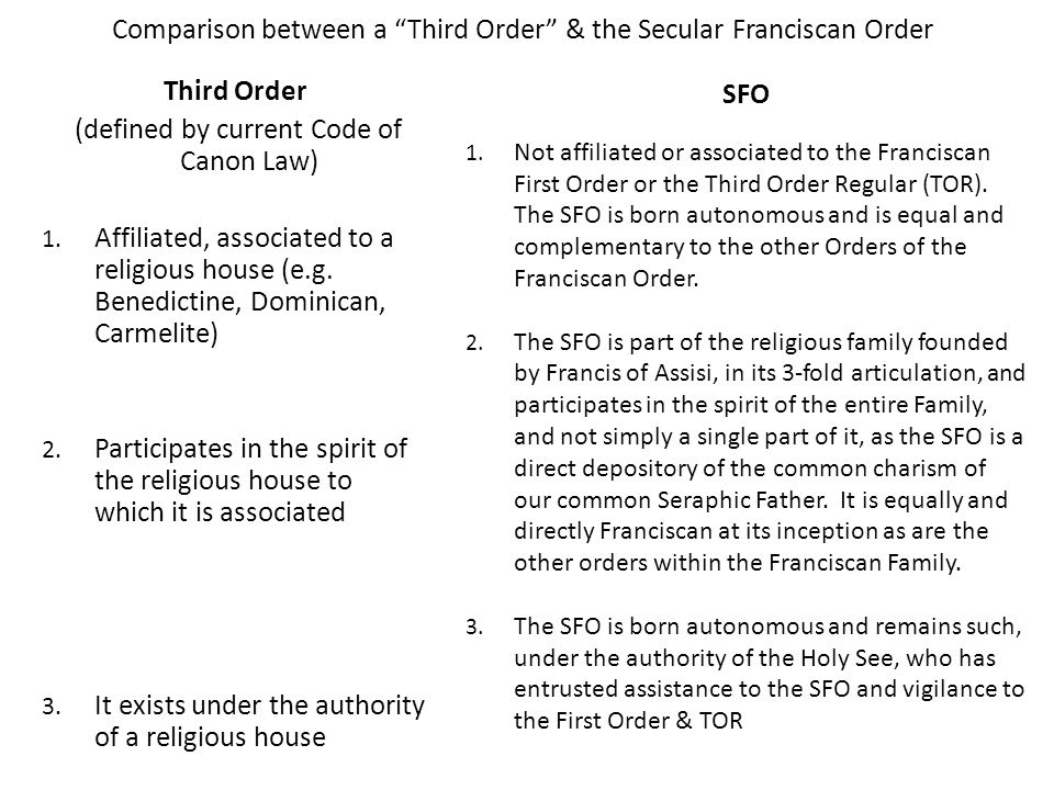 Comparison between a Third Order & the Secular Franciscan Order