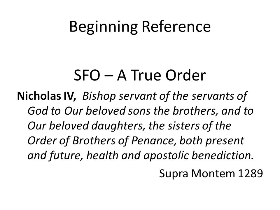 Beginning Reference SFO – A True Order
