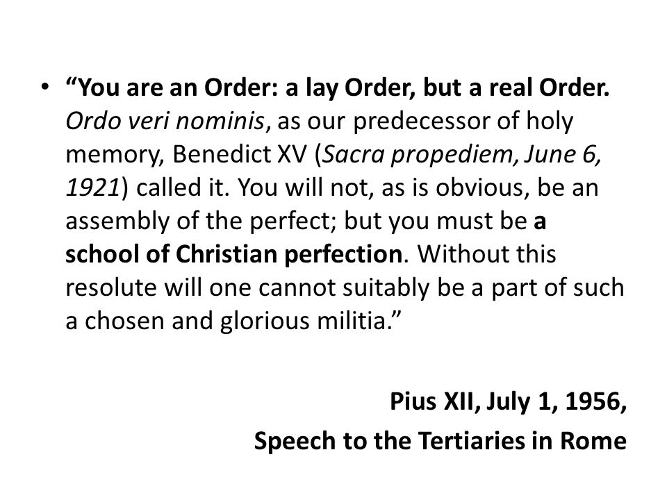 You are an Order: a lay Order, but a real Order