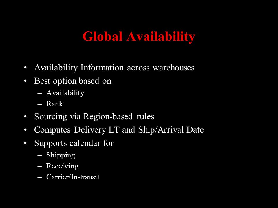 Global Availability Availability Information across warehouses