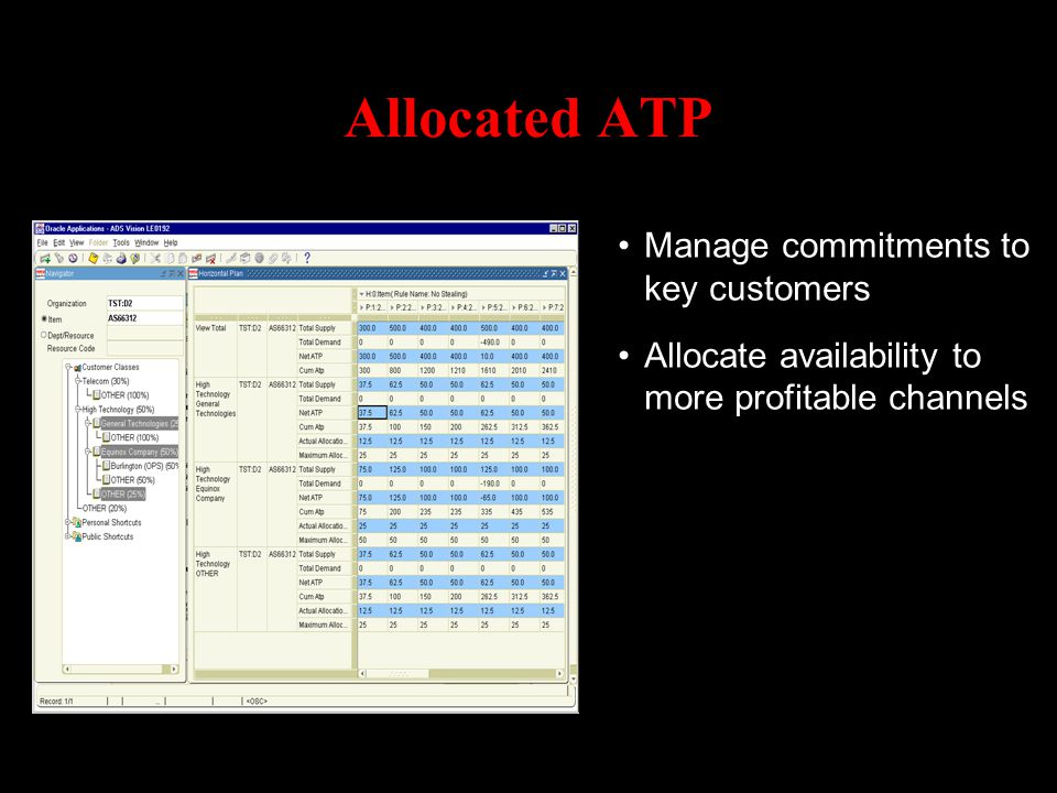 Allocated ATP Manage commitments to key customers