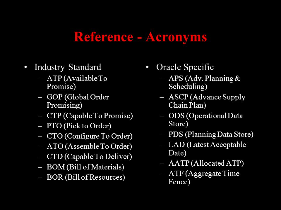 Reference - Acronyms Industry Standard Oracle Specific