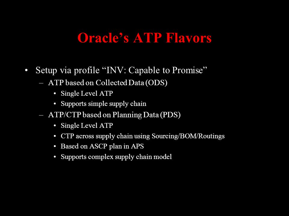 Oracle's ATP Flavors Setup via profile INV: Capable to Promise