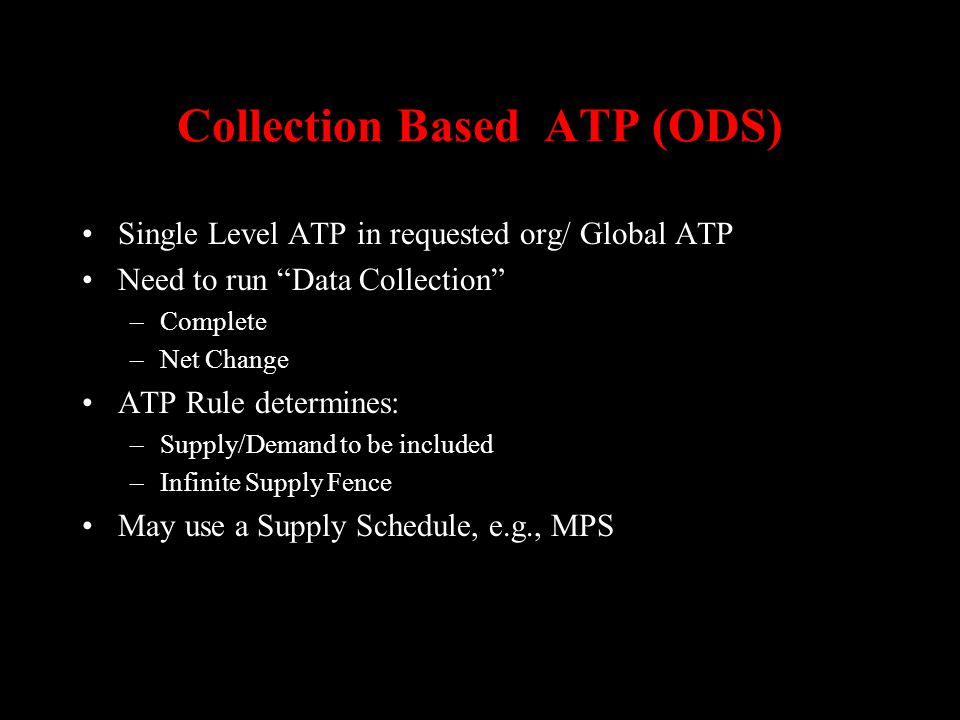 Collection Based ATP (ODS)