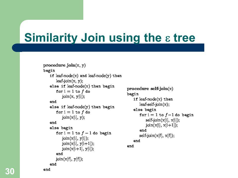 Similarity Join using the  tree