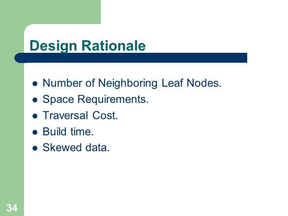 Design Rationale Number of Neighboring Leaf Nodes. Space Requirements.