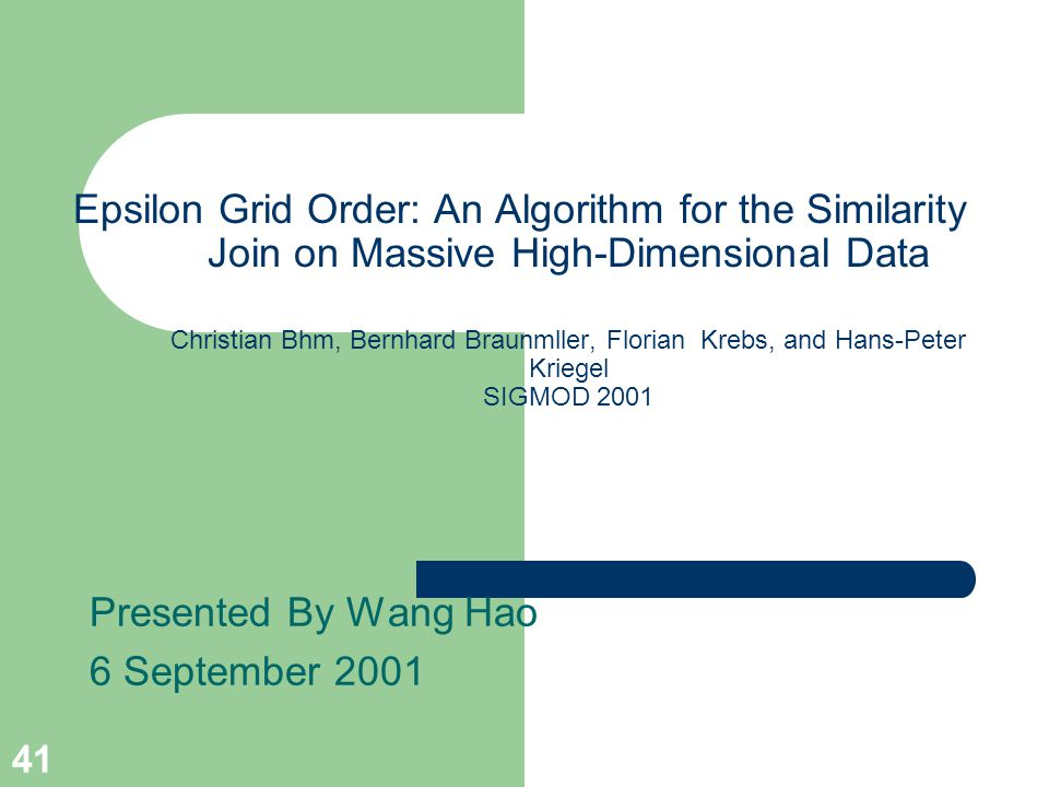 Presented By Wang Hao 6 September 2001