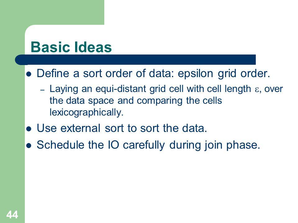 Basic Ideas Define a sort order of data: epsilon grid order.