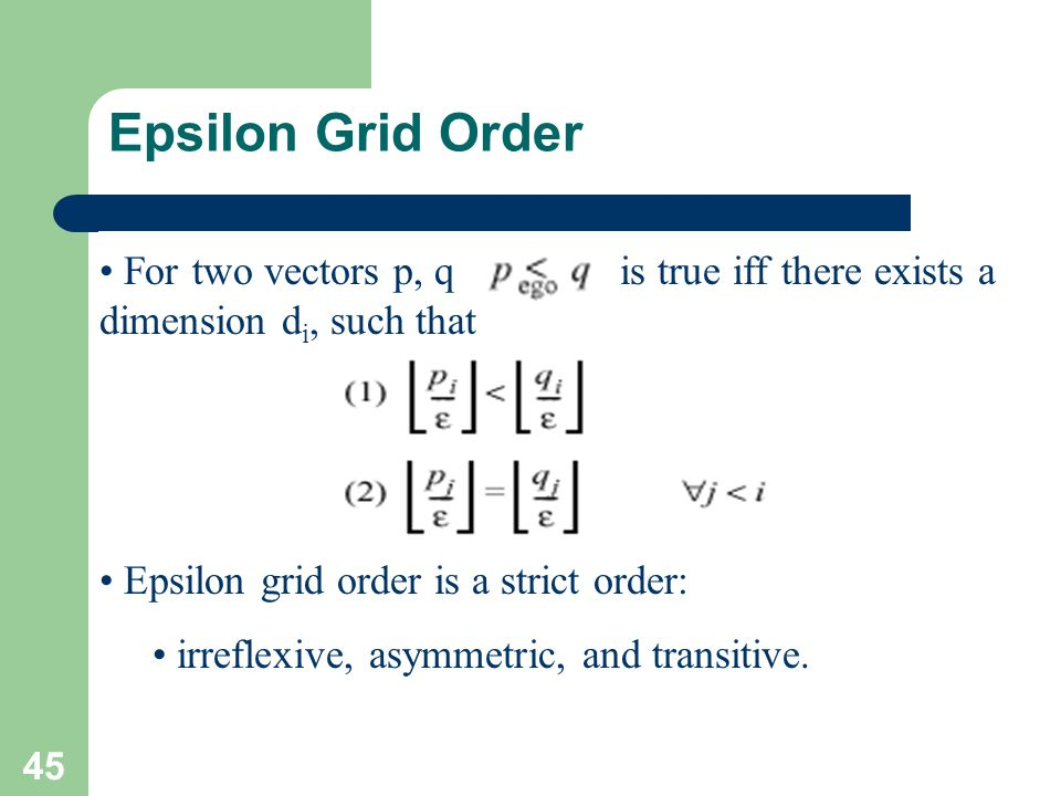 Epsilon Grid Order For two vectors p, q is true iff there exists a dimension di, such that.