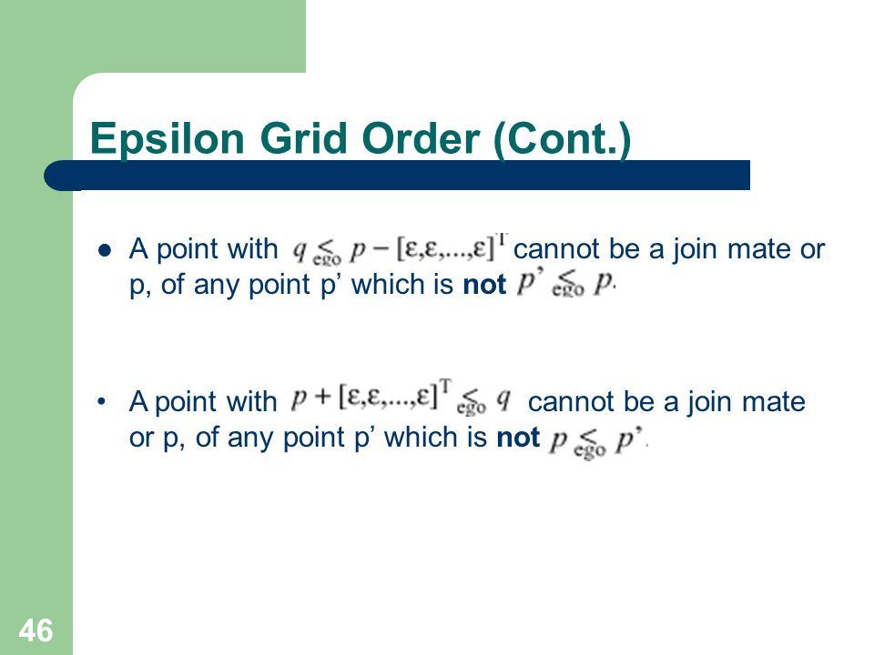 Epsilon Grid Order (Cont.)