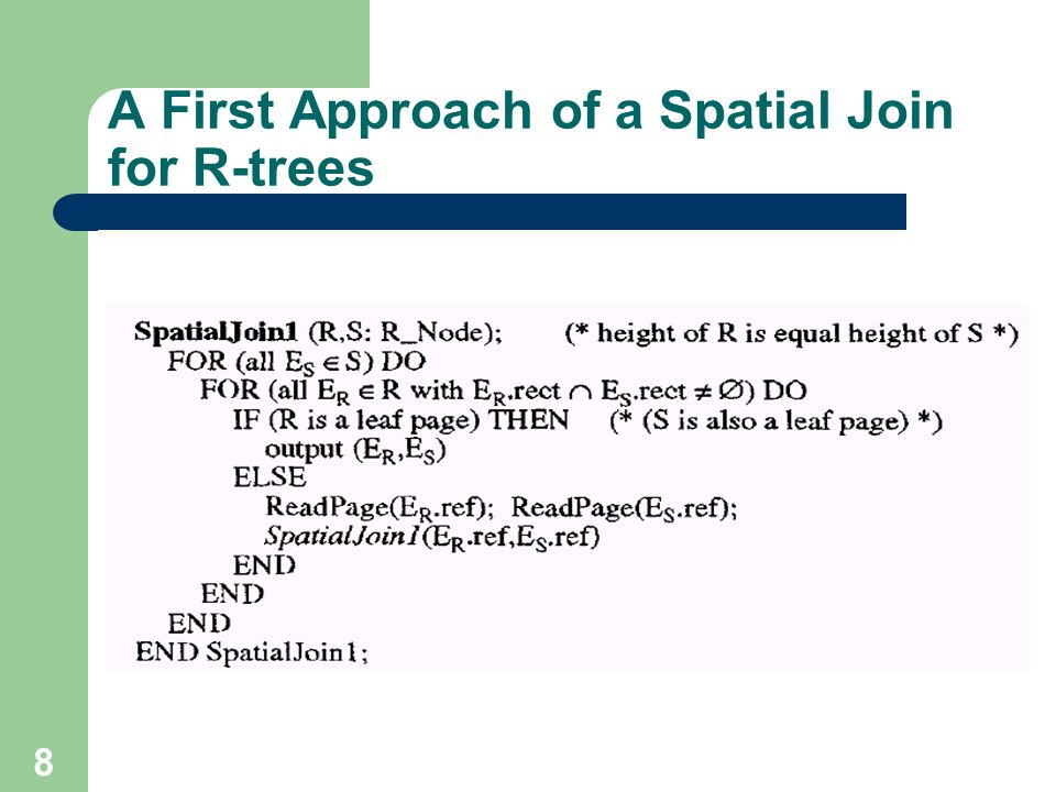 A First Approach of a Spatial Join for R-trees