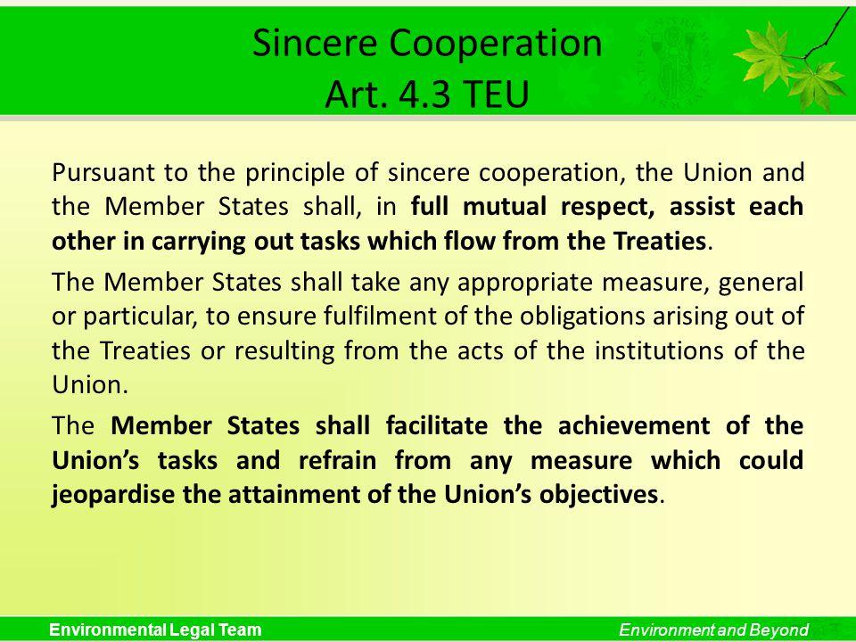 Sincere Cooperation Art. 4.3 TEU