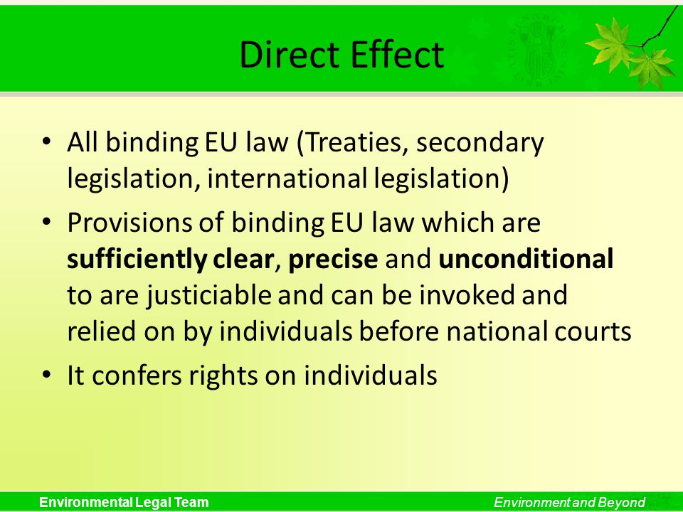 Direct Effect All binding EU law (Treaties, secondary legislation, international legislation)