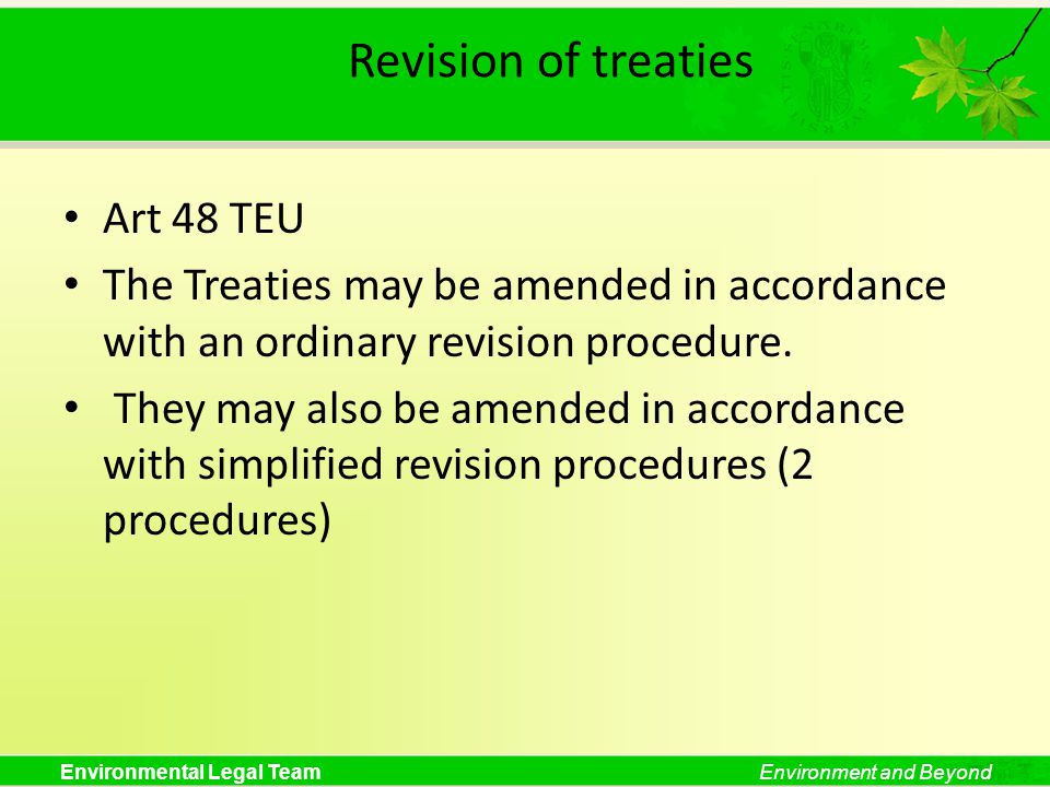 Revision of treaties Art 48 TEU