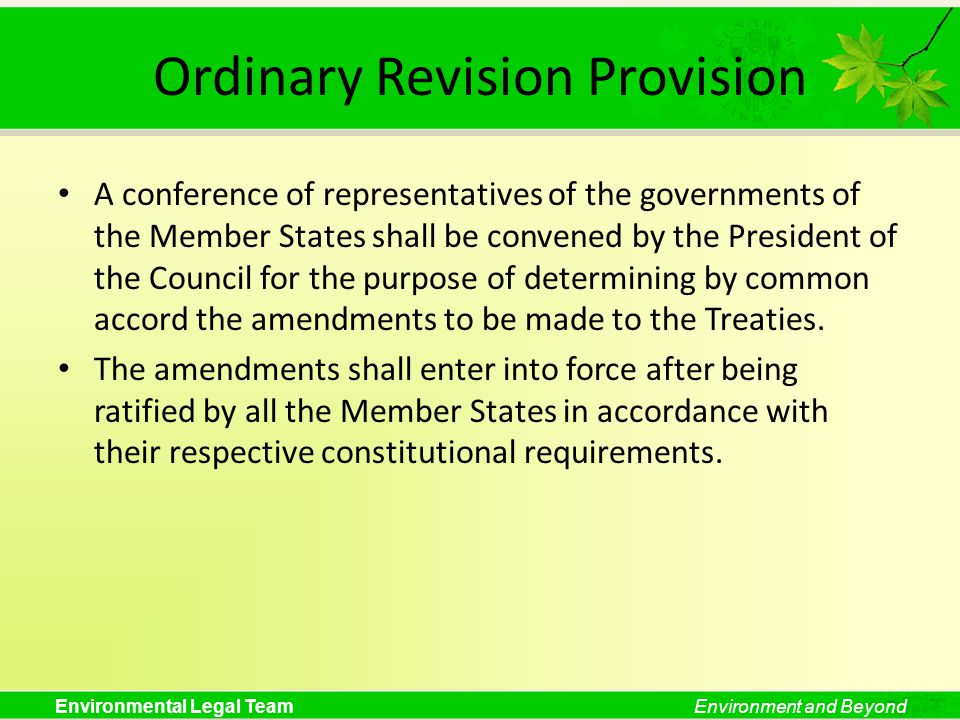 Ordinary Revision Provision