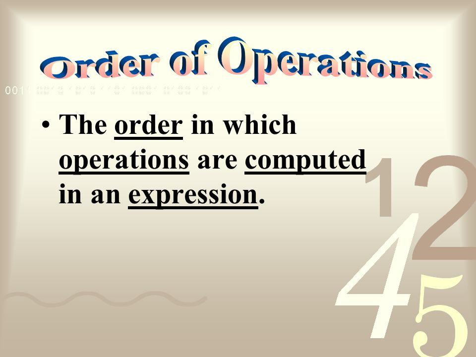 Order of Operations The order in which operations are computed in an expression.