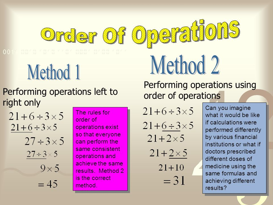 Order Of Operations Method 2 Method 1