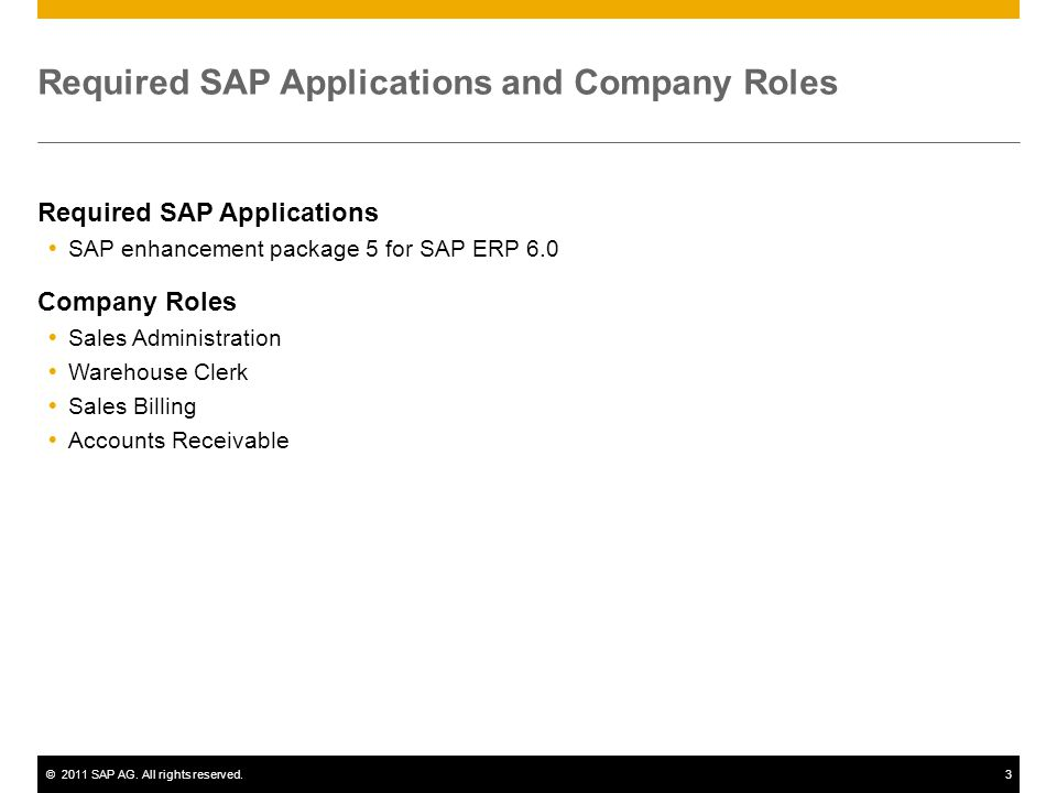 Required SAP Applications and Company Roles