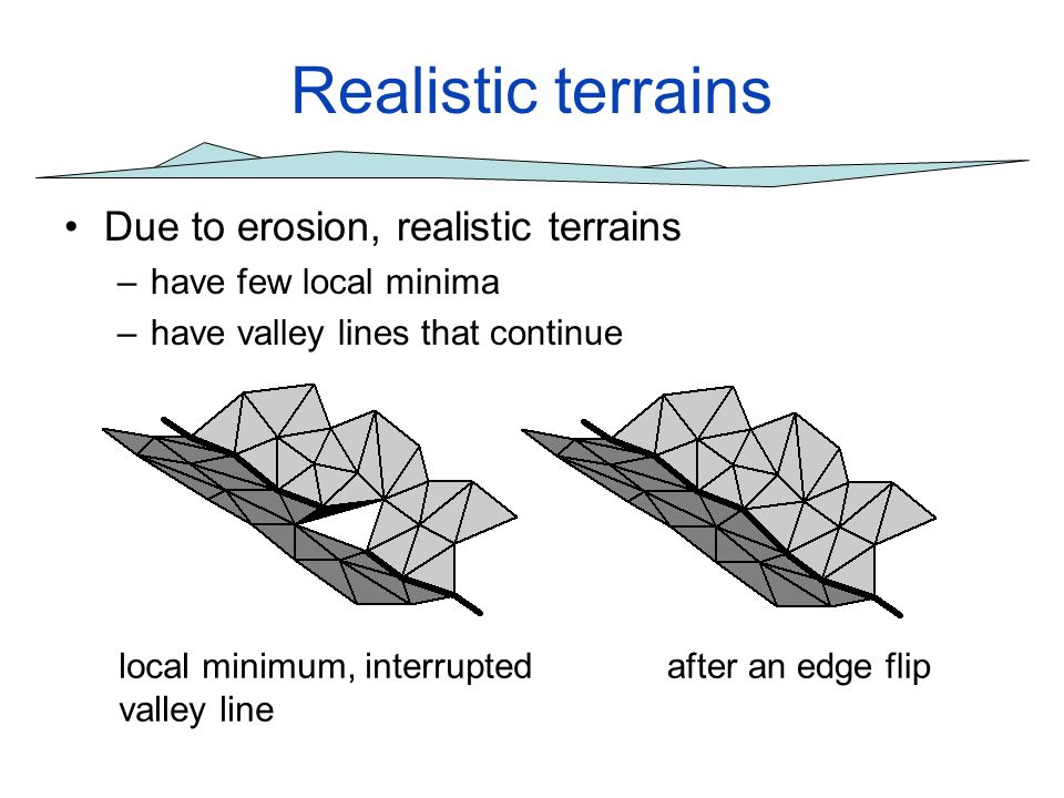 Realistic terrains Due to erosion, realistic terrains