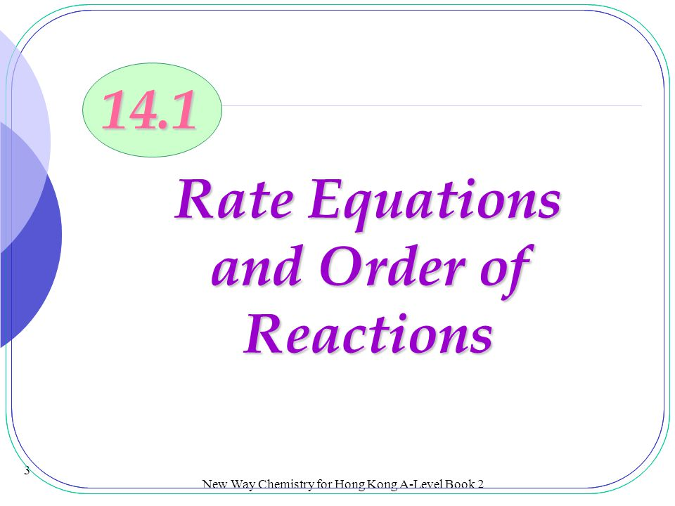 Rate Equations and Order of Reactions