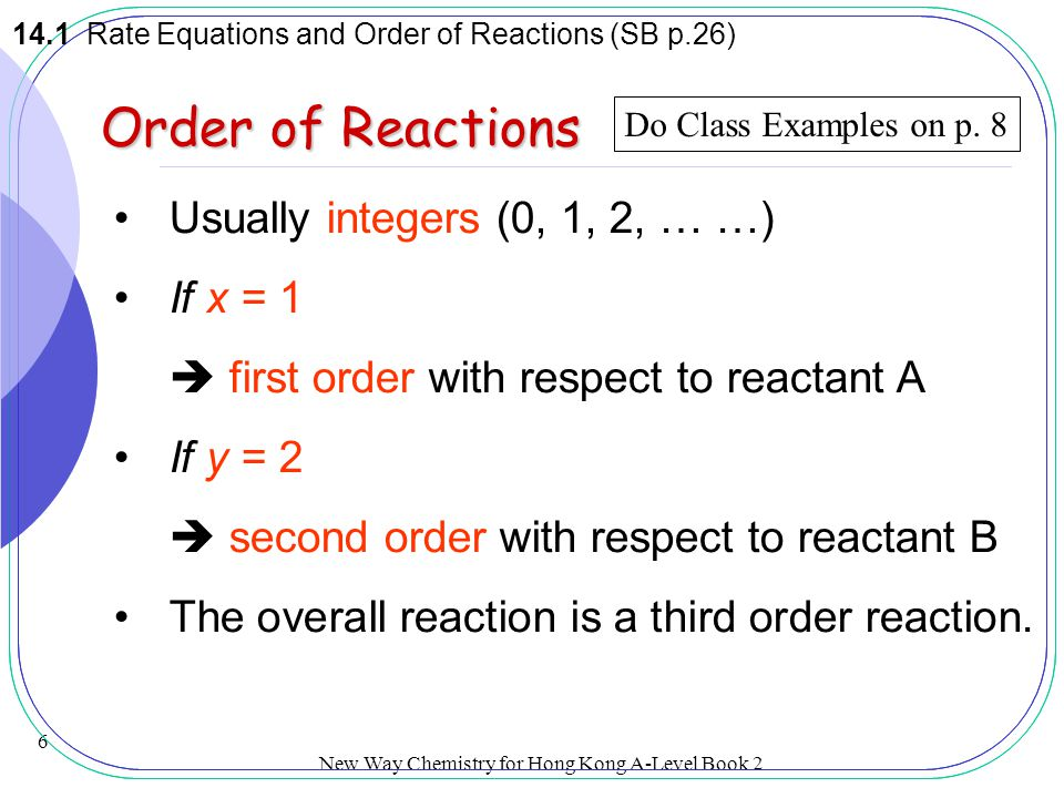 Order of Reactions Usually integers (0, 1, 2, … …) If x = 1